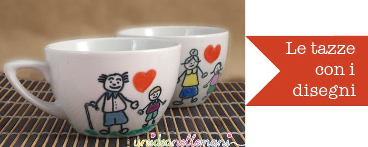 lavoretto festa dei nonni, portafotografie fai da te, lavoretto festa nonni per bambini, tazze decorate,