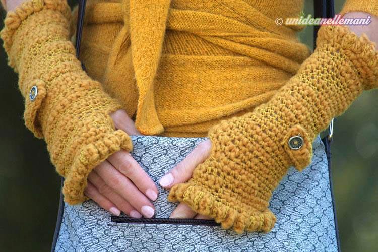 manicotti ad uncinetto, manicotti lana uncinetto, manicotti uncinetto tutorial, scaldamani di lana,