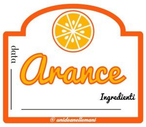 Etichetta marmellata arance con ingredienti