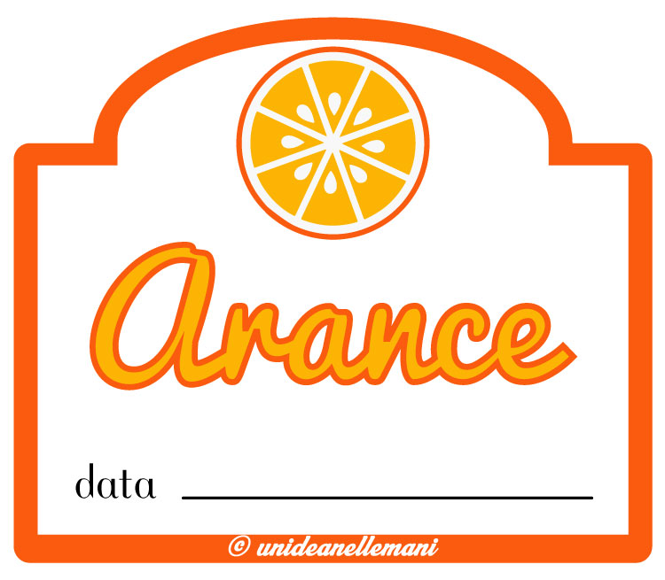 Etichetta marmellata arance