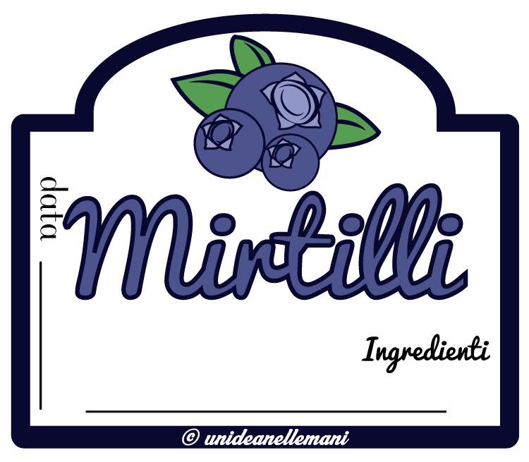 etichetta marmellata di mirtilli e ingredienti