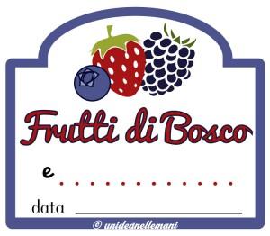 etichetta marmellata frutti di bosco e altri ingrediente