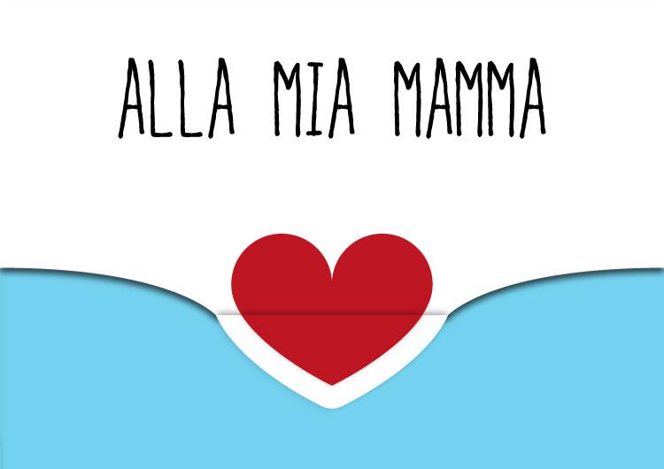biglietto auguri festa della mamma con cuore e chiusura azzurro