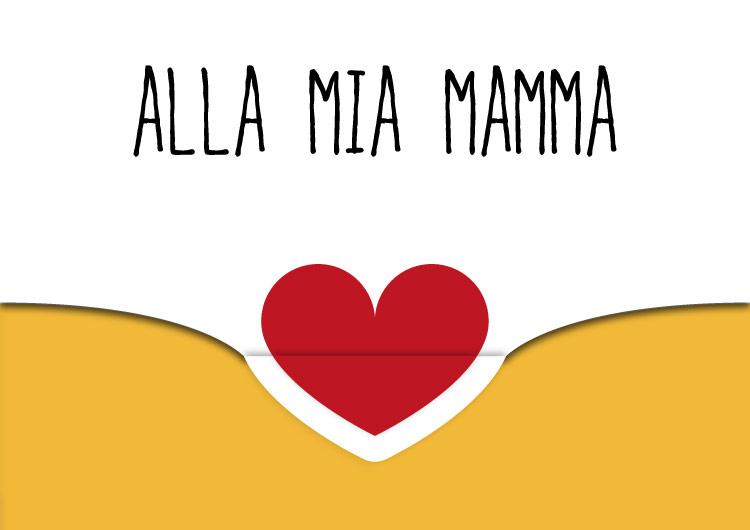 biglietto auguri festa della mamma con cuore e chiusura giallo