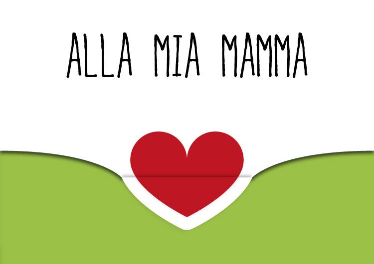 biglietto auguri festa della mamma con cuore e chiusura verde
