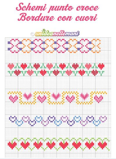 Schemi punto croce da stampare bordure con cuori for Bordi punto croce
