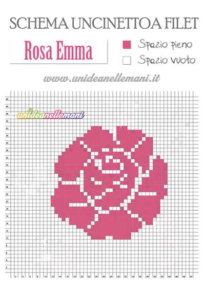 filet schema rosa, schema fiore rosa uncinetto a filet,