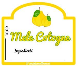 etichetta marmellata mele cotogne con ingredienti