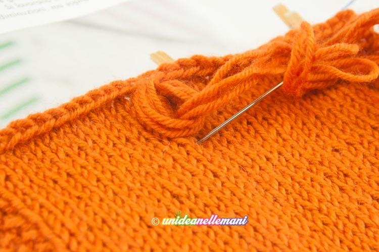 quadrato a maglia con ricamo
