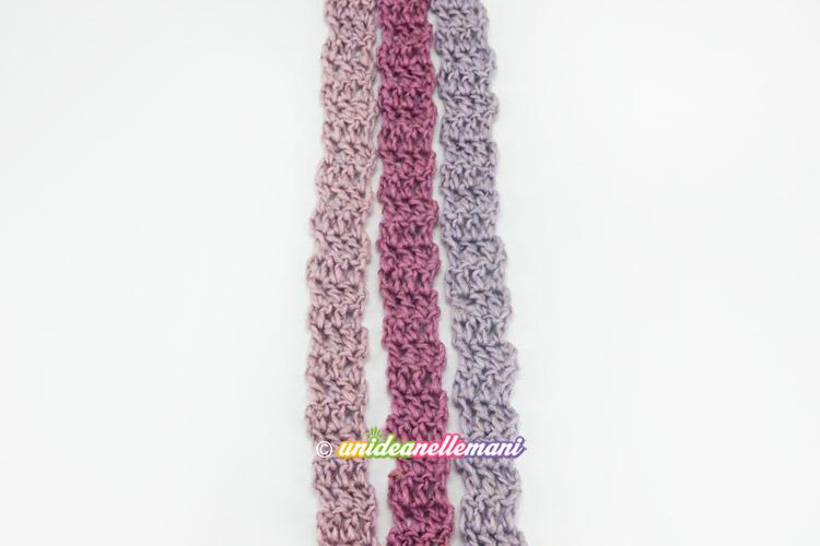 sciarpa strisce a uncinetto