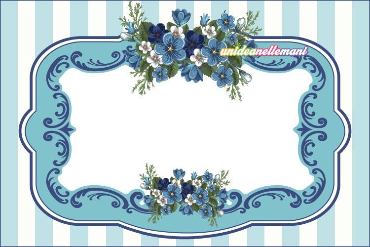 etichetta da stampare con fioru blu