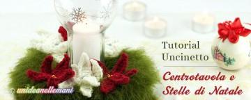 Ghirlanda Centrotavola con Stelle di Natale all'uncinetto-Tu...