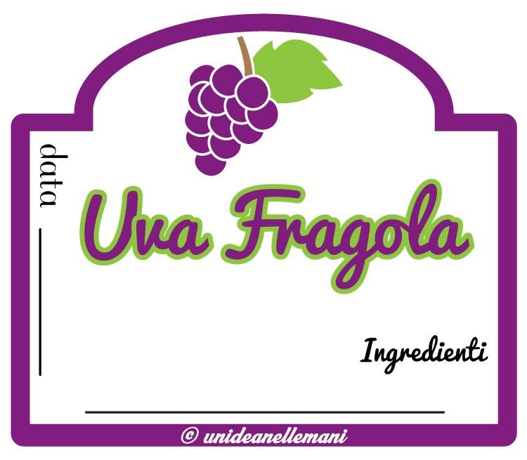 etichetta marmellata da stampare uva fragola