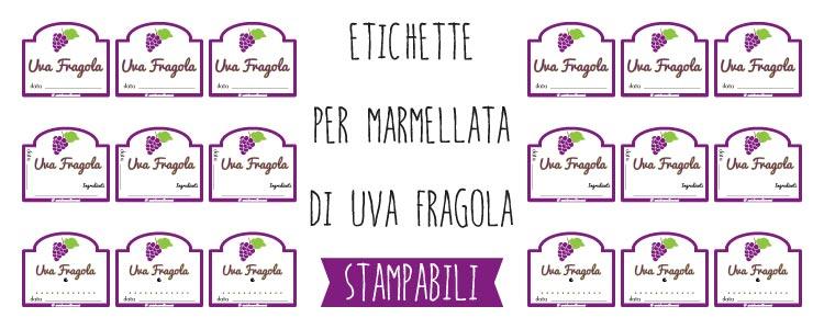 Etichette per marmellata di uva fragola da stampare for Stampabili da colorare