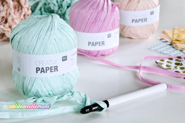 filo di carta, uncinetto con filo di carta,