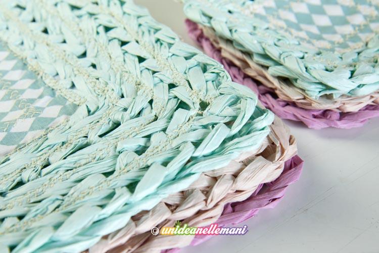 sottopiatti-sottobicchieri-uncinetto filo di carta