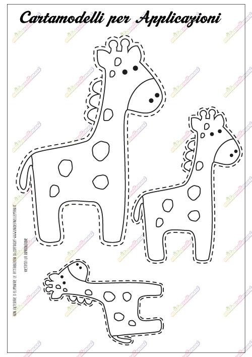 cartamodello giraffa, cartamodello giraffa pannolenci,