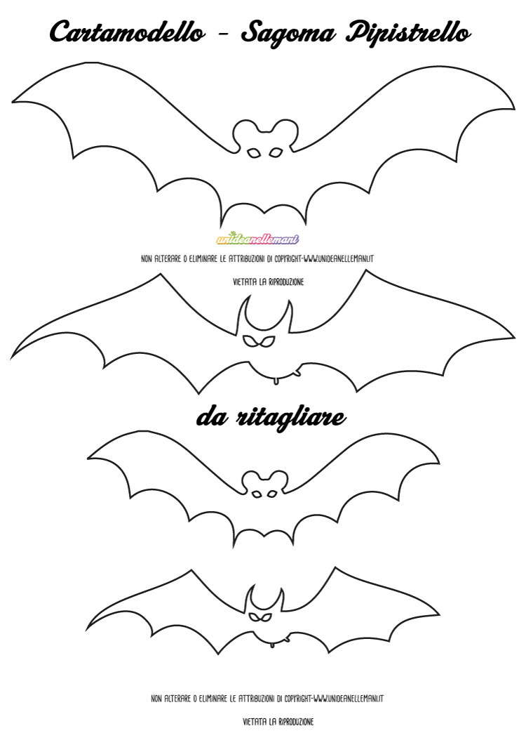 Sagome pipistrelli da stampare colorare e ritagliare for Disegni di halloween colorati