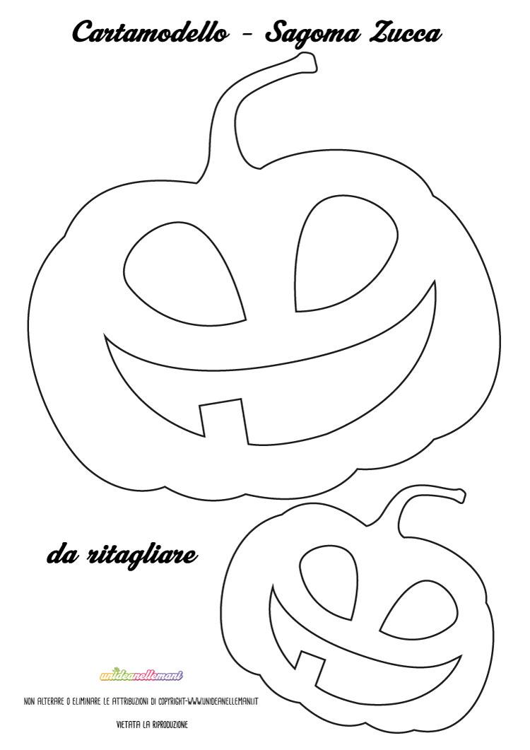 Intagliare Zucca Per Halloween Disegni sagome zucca da stampare, colorare e ritagliare