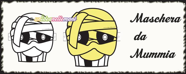 maschere halloween, maschere mummia, maschera mummia da colorare, maschera mummia da stampare