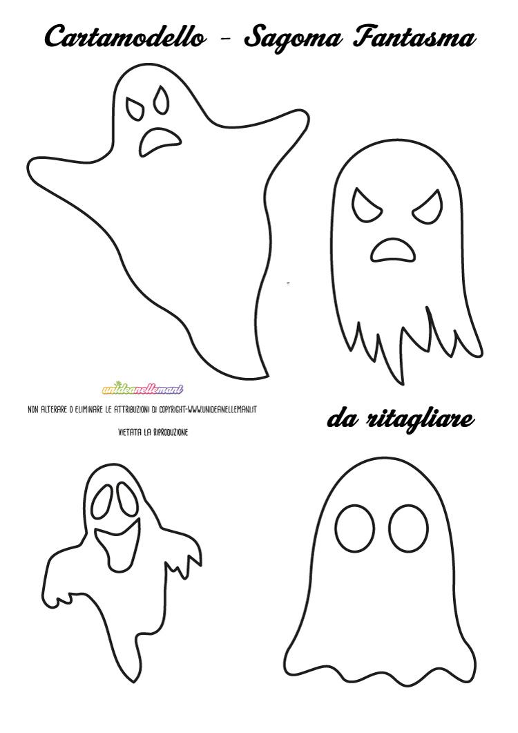 Sagome fantasmi da stampare ritagliare e colorare - Come disegnare immagini di halloween ...