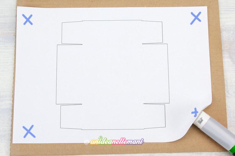 schema scatolina incollare su cartone