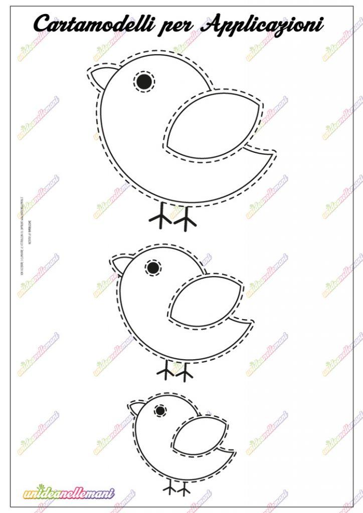 cartamodello uccellino