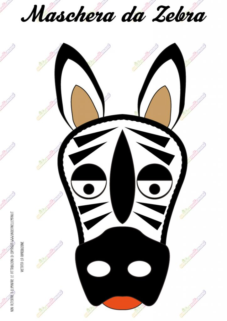 cartamodello maschera da zebra da stampare