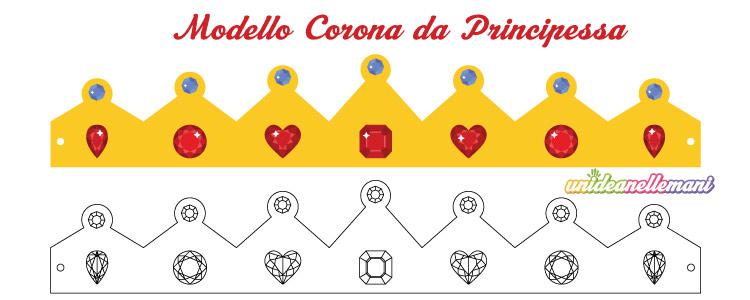 modello corona da principessa da stampare ritagliare colorare