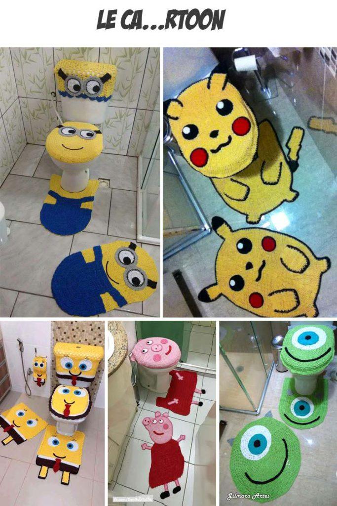 set-bagno-uncinetto-personaggi-cartoni