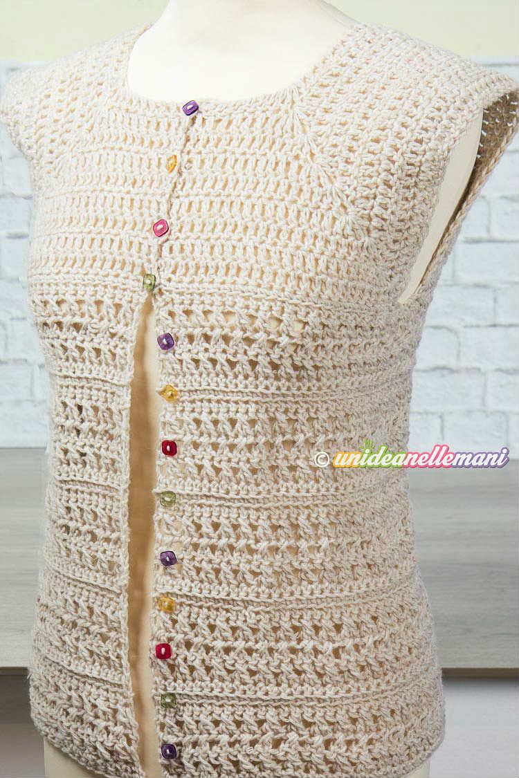 maglia top down uncinetto