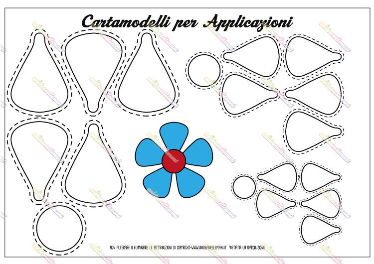 cartamodello fiore a 5 petali