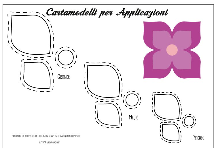 cartamodello applique fiore quattro petali
