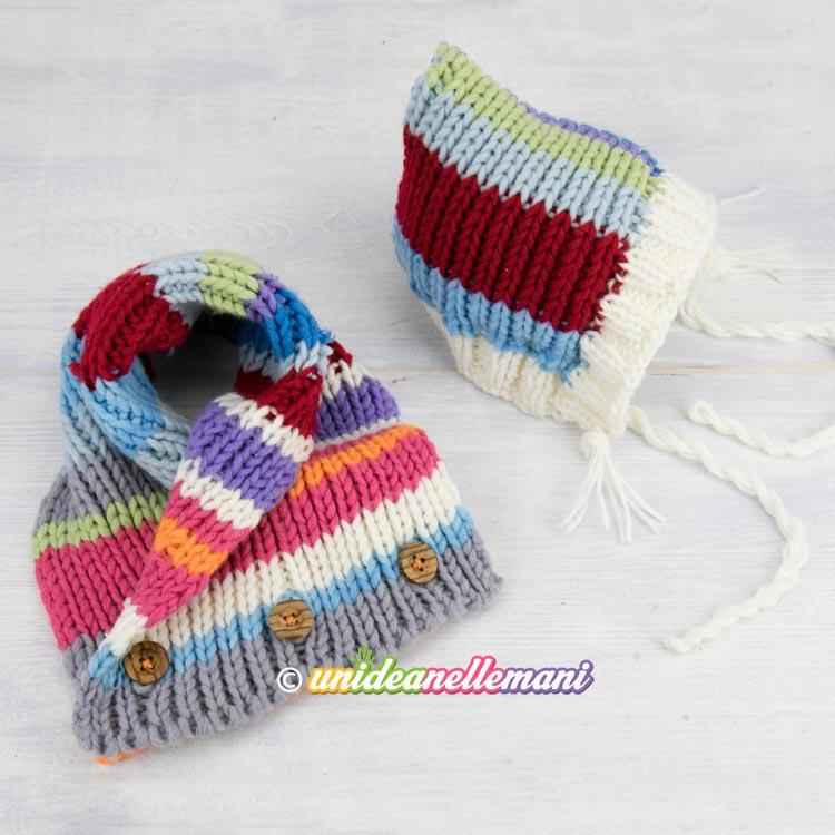 Popolare Set sciarpa e cappello ai ferri per bambini riciclando avanzi di lana KB43